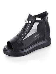 Sandály-Tyl PU-PohodlnéČerná Bílá Stříbrná-Šaty Běžné-Plochá podrážka