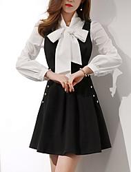 Mujer Clásico Oficina/Carrera Uso Diario Fiesta de Boda Cita Verano Camisas Falda Trajes,Escote en V Color sólido Manga LargaEstilo