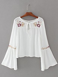 Women's Embroidery Flare Sleeve Going out Casual/Daily Sexy Simple Street chic Spring Fall T-shirt,Embroidered Round Neck Long Sleeve Cotton Medium
