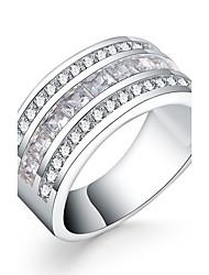 preiswerte -Damen Ring Silber Zirkon Kubikzirkonia versilbert Kreisförmig Luxus Alltag Normal Modeschmuck