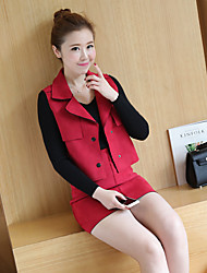 2017 spring models suit real shot female Korean tide temperament fashion red suede skirt piece