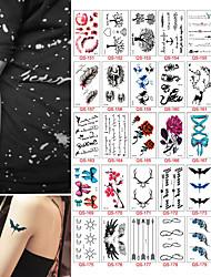 30 PCS 1 Lot Fashion Men And Women Tattoo Lovely Flowers Fish Hello Kitty Body Art Flash Waterproof Temporary Tattoos Stickers