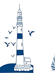 cheap -Tower Lighthouse Seagulls Wall Stickers Blue Flying Bids Wall Decals Home Decor For Kids Room