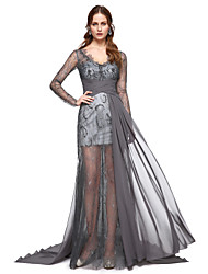 cheap -A-Line V Neck Sweep / Brush Train Chiffon Formal Evening Dress with Lace Pleats by TS Couture®
