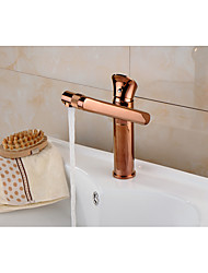 cheap -Modern Centerset Rain Shower Ceramic Valve Single Handle One Hole Rose Gold, Bathroom Sink Faucet
