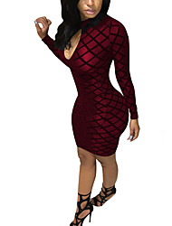 Women's Casual/Daily Club Sexy Street chic Bodycon DressPlaid Hin Thin Mesh Thick Crew Neck Above Knee Long Sleeve Spring FallMid