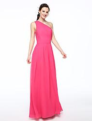 cheap -A-Line One Shoulder Floor Length Chiffon Bridesmaid Dress with Sash / Ribbon Pleats by LAN TING BRIDE®