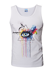 cheap -Men's Sports / Beach Active / Boho / Punk & Gothic Cotton Tank Top - Graphic Print V Neck / Sleeveless
