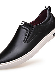 cheap -Men's Shoes Leather Spring / Fall Fashion Boots / Comfort Loafers & Slip-Ons Black / Silver / Brown