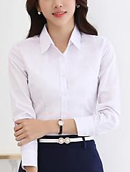 abordables -Mujer Simple Noche Primavera Verano Camisa,Escote Chino Un Color Manga Larga Poliéster Azul Blanco Medio