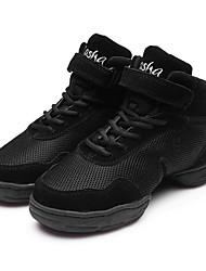 """Women's Modern Fabric Synthetic Sneaker Split Sole Performance Low Heel Black Under 1"""" Customizable"""
