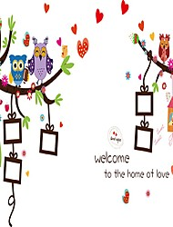 cheap -Cartoon Photo Love Heart Wall Stickers Owls Animals Wall Decals Welcome to the Home Of Love Removable Kids Sticker
