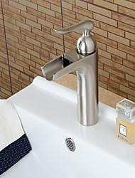 abordables -Moderne Set de centre Jet pluie Soupape céramique Mitigeur un trou Nickel brossé , Robinet lavabo