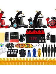 Kit de tatouage professionnel 4 x Machine à tatouer en fonte pour le traçage et l'ombrage 4 Machine à tatouer Encres non incluses