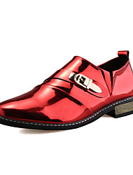 Men's Oxfords Spring Fall Comfort Bullock shoes Patent Leather Casual Flat Heel Button Gore Black Red Walking Wedding