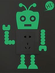 AYA DIY Wall Stickers Luminous Robot Style Switch Stickers 15*16cm