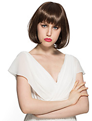 Kinky Straight Capless Wig Short Bob Brown Synthetic Fiber Wig Hairstyle With Wig Cap