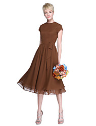 abordables -Trapèze Bijoux Mi-long Mousseline de soie Robe de Demoiselle d'Honneur  avec Noeud(s) / Boutons par LAN TING BRIDE®