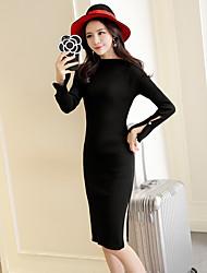 Sign new Korean side slit long-sleeved knit dress Dongkuan long sections Slim step skirt package hip skirt