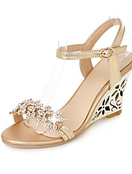 cheap -Women's Shoes PU Spring Summer Club Shoes Sandals Wedge Heel Rhinestone Buckle for Wedding Office & Career Dress Gold Silver