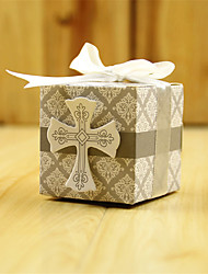 cheap -Cubic Card Paper Favor Holder with Ribbons Favor Boxes-50
