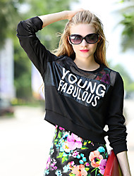 Model real shot 2017 new spring tide models printed letters spell Pio hollow yarn sweater Europe station