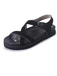 Women's Sandals Comfort PU Spring Summer Casual Dress Comfort Braided Strap Flat Heel Black Light Grey Green Flat
