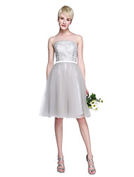 A-Line Jewel Neck Knee Length Lace Tulle Bridesmaid Dress with Appliques Sash / Ribbon by LAN TING BRIDE®