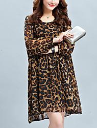 Damen Chiffon Kleid-Lässig/Alltäglich Einfach Leopard Rundhalsausschnitt Übers Knie Langarm Braun Grau Polyester Alle SaisonsMittlere