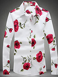 Men's Casual/Daily Simple Spring Fall Shirt,Floral Classic Collar Long Sleeves Cotton Thin