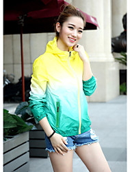 Women's Sports Casual/Daily Beach Active Spring Summer Jacket,Print Hooded Long Sleeve Regular Polyester