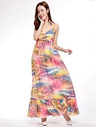 Mujer Gasa Corte Swing Vestido Playa Boho,Estampado Con Tirantes Maxi Sin Mangas Multicolor Poliéster Primavera Verano Tiro Medio