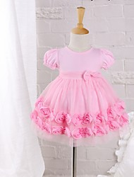 Baby Daily Solid Dress Cotton Nylon Summer Pink Rose Dress
