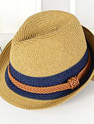 Недорогие -Универсальные Праздник Панама Соломенная шляпа Шляпа от солнца Солома,Контрастных цветов Лето Коричневый Темно синий Хаки