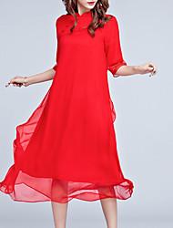 Damen Lose Kleid-Ausgehen Übergröße Retro Chinoiserie Solide Ständer Midi ½ Länge Ärmel Rot Seide Polyester Frühling SommerMittlere