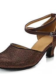 "cheap -Women's Latin Paillette Sandal Outdoor Chunky Heel Gold Silver Dark Brown 1"" - 1 3/4"" Non Customizable"