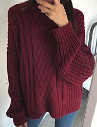 Damen Standard Pullover-Alltag Verabredung Strasse Retro Volltonfarbe Ständer Langarm N / A Winter Mittel Dehnbar