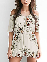 Women's Slim RompersGoing out Holiday Vintage Boho Floral Backless Falbala Slim Boat Neck  Length Sleeve Mid Rise Micro-elastic Summer Fall