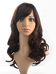 Capless Dark Brown Wig Long Wavy Curly Synthetic Fiber Wig Side Part Bangs Cosplay Costume Wigs