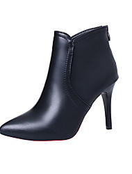 Damen High Heels Komfort PU Winter Komfort Stöckelabsatz Schwarz 10 - 12 cm