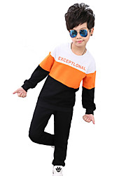 Boy's Fashion Casual/Daily Sports School Color Block Patchwork Sets Cotton Spring Fall Long Sleeve Pants 2 Piece Clothing Set Children's Garments