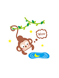 cheap -Wall Stickers Wall Decals Style Monkey Fishing Moon Switch PVC Wall Stickers