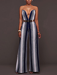 cheap -High Rise Going out Club Jumpsuits,Simple Sexy Skinny Wide Leg Backless Striped Summer