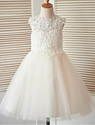 cheap -A-Line Knee Length Flower Girl Dress - Lace Tulle Sleeveless Jewel Neck with Buttons Lace by LAN TING BRIDE®