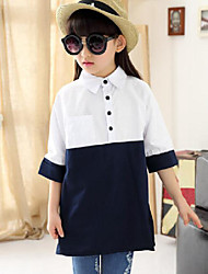 Girl Casual/Daily Patchwork Shirt,Cotton Spring Fall Long Sleeve Regular