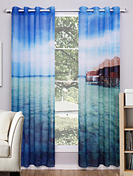 Grommet Top Two Panels Curtain Modern , Nature & Landscapes Living Room Polyester Material Sheer Curtains Shades Home Decoration For