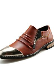Hombre Zapatos Cuero Primavera Verano Otoño Confort Oxfords Paseo Cremallera Para Casual Fiesta y Noche Negro Marrón Azul