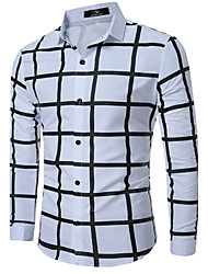 cheap -Men's Plus Size Cotton Shirt - Solid Colored Color Block Plaid