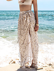 Women's Beach Holiday Maxi Skirts,Sexy Swing Solid Summer