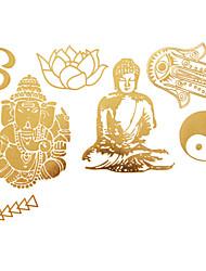 Outros Tatuagem Adesiva - Estampado - para Feminino/Girl/Adulto/Adolescente - de Papel - Dourada - #(23x15) #(1)